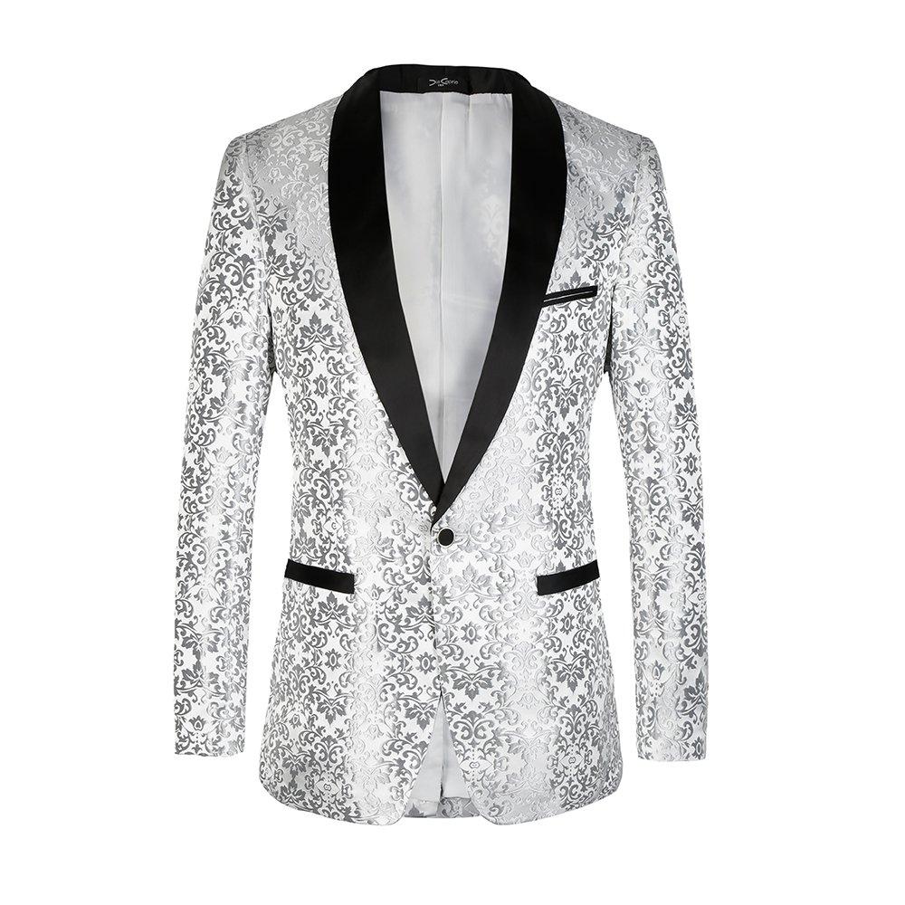 diecaprle Wedding Suit Slim Fit One Button Business Suit(Blazer+Pants) Silver at Amazon Mens Clothing store: