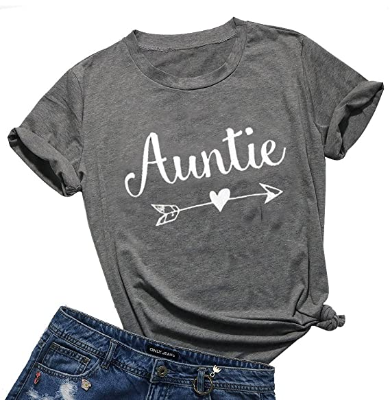 8fc865167 EGELEXY Casual Aunt Tee Auntie Arrow Print Summer Short Sleeve T-Shirt Tops  Tee Birthday Gift at Amazon Women's Clothing store: