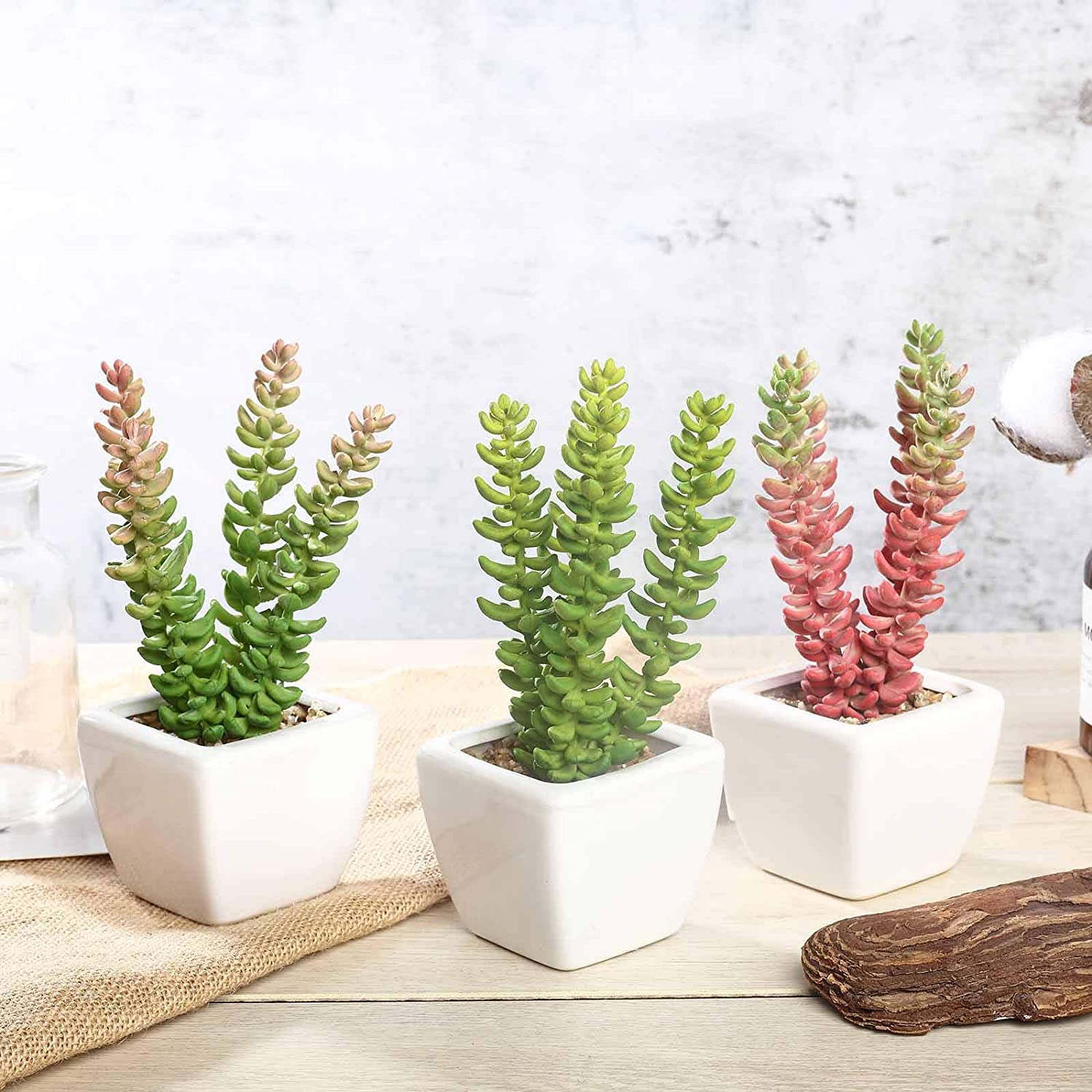 Set of 2 Richly Colored Green and Pink Artificial Sedum Succulent Stems