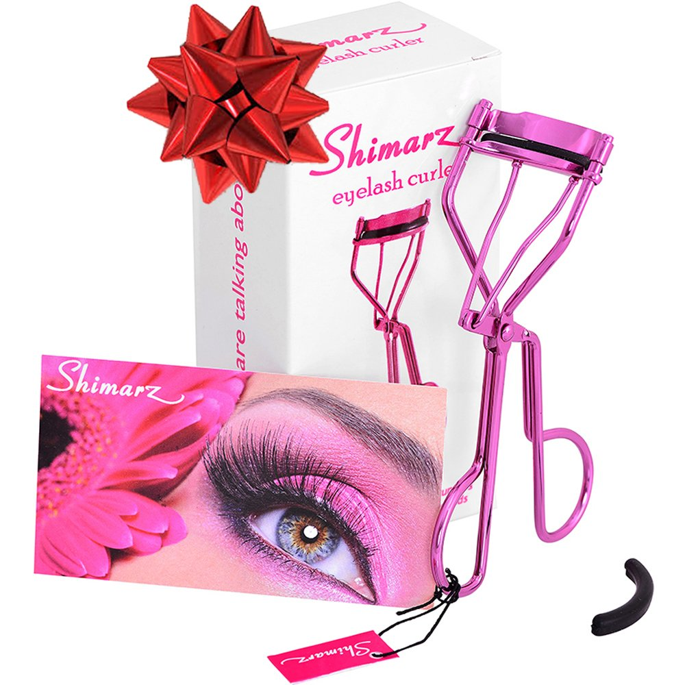 907114f3f2d Amazon.com : Shimarz Eyelash Curler Extra Refill Pad Included, Curls  Eyelashes Effortlessly, Lightweight Sparkling Metallic Magenta Frame, Great  Addition to ...