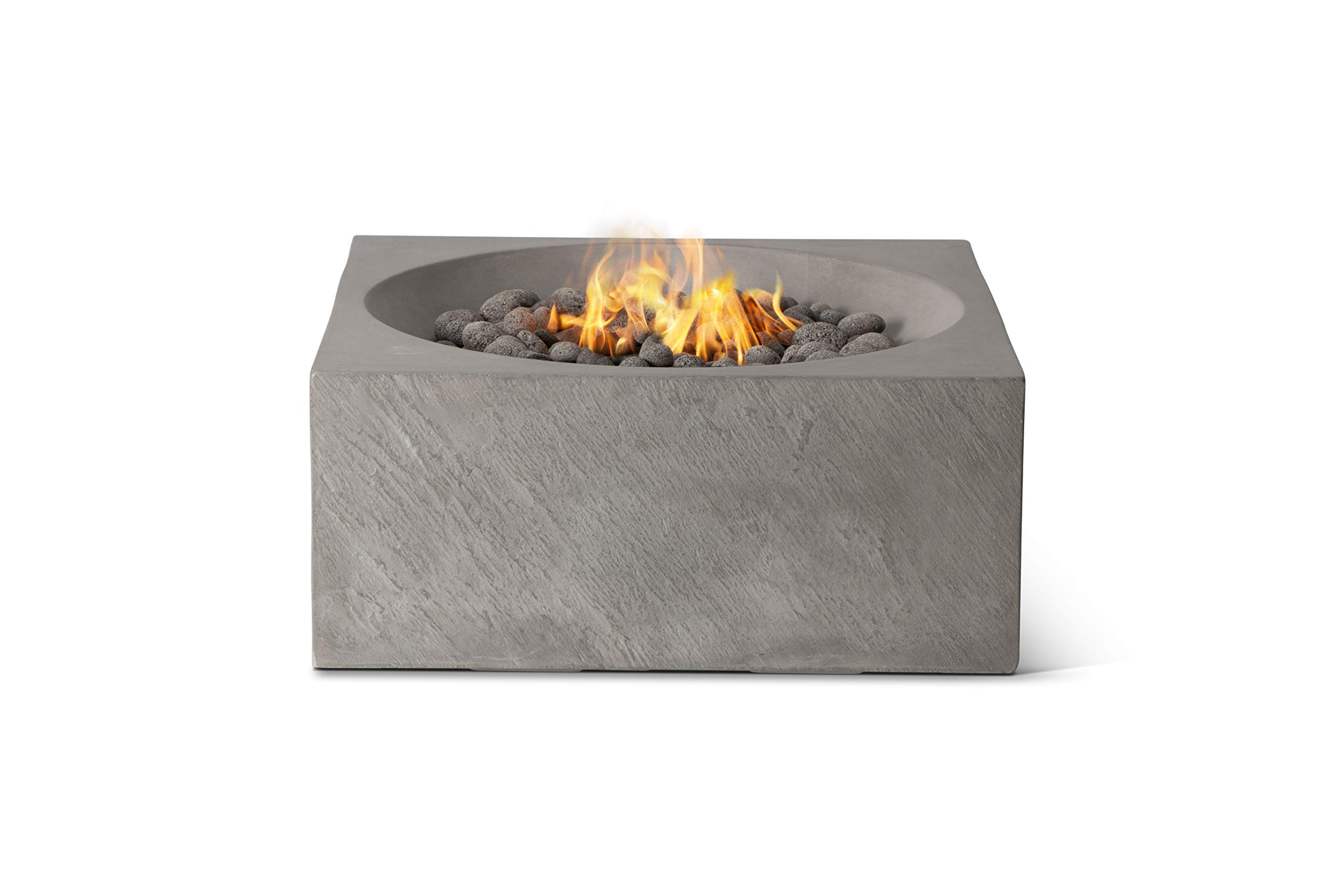 Pyromania Bonita Outdoor Fire Table, Fire Pit Table. Hand Crafted from Concrete. 60,000 BTU Stainless Steel Burner with Electronic Ignition - Propane, Slate Color ((Lava Rock Included) by Pyromania
