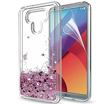LeYi Funda LG G6 / LG G6 Plus Silicona Purpurina Carcasa con HD Protectores de Pantalla,Transparente Cristal Bumper Telefono Gel TPU Fundas Case cover ...