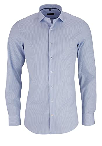 ETERNA Slim Fit Hemd Langarm Streifen blau