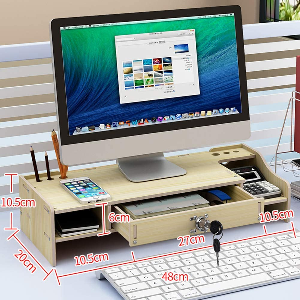 TopJiä Madera Ordenador Soporte para Monitor,Escritorio Almacenamiento Organizador,pc TV Impresora Elevador del Monitor,con Cajón Almacenamiento,con Cerradura Arce Blanco B: Amazon.es: Electrónica