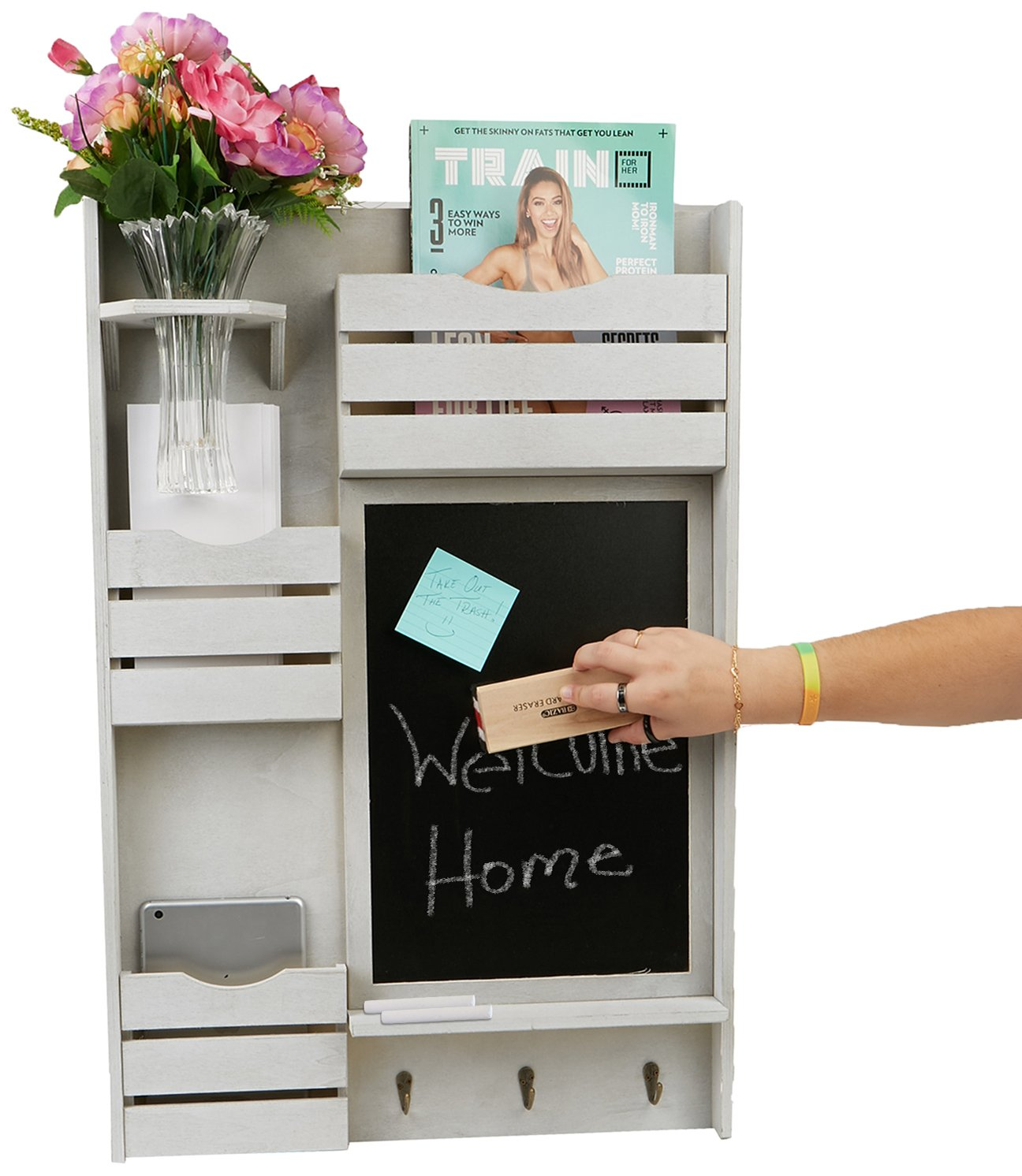 Mind Reader Wall Mount Shelf, Decor Piece with Chalk Board, Bedroom, Living Room, Bathroom, Kitchen, Office and More by Mind Reader