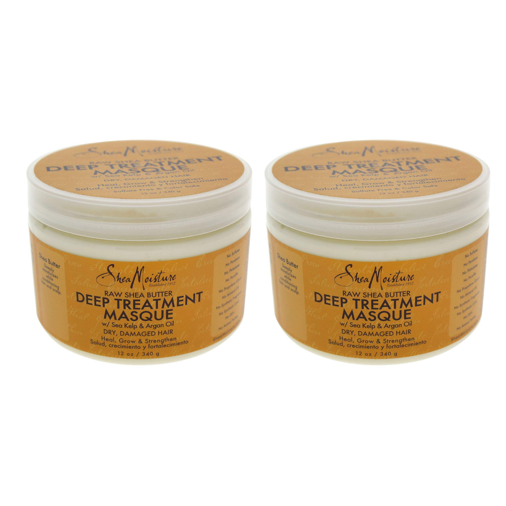 Raw Shea Butter Deep Treatment Masque - Pack of 2 by Shea Moisture for Unisex - 12 oz Masque