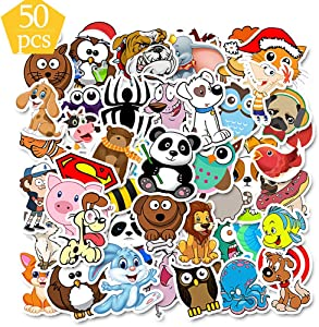 QTQYQJ Cute Animal Stickers VSCO for Water Bottle|50-Pcs Waterproof Vinyl Stickers Laptop Sticker for Kids,Aesthetics Trendy Stickers Perfect for Laptop,Hydro Flask,Phone,Car,Travel and More(Q045)