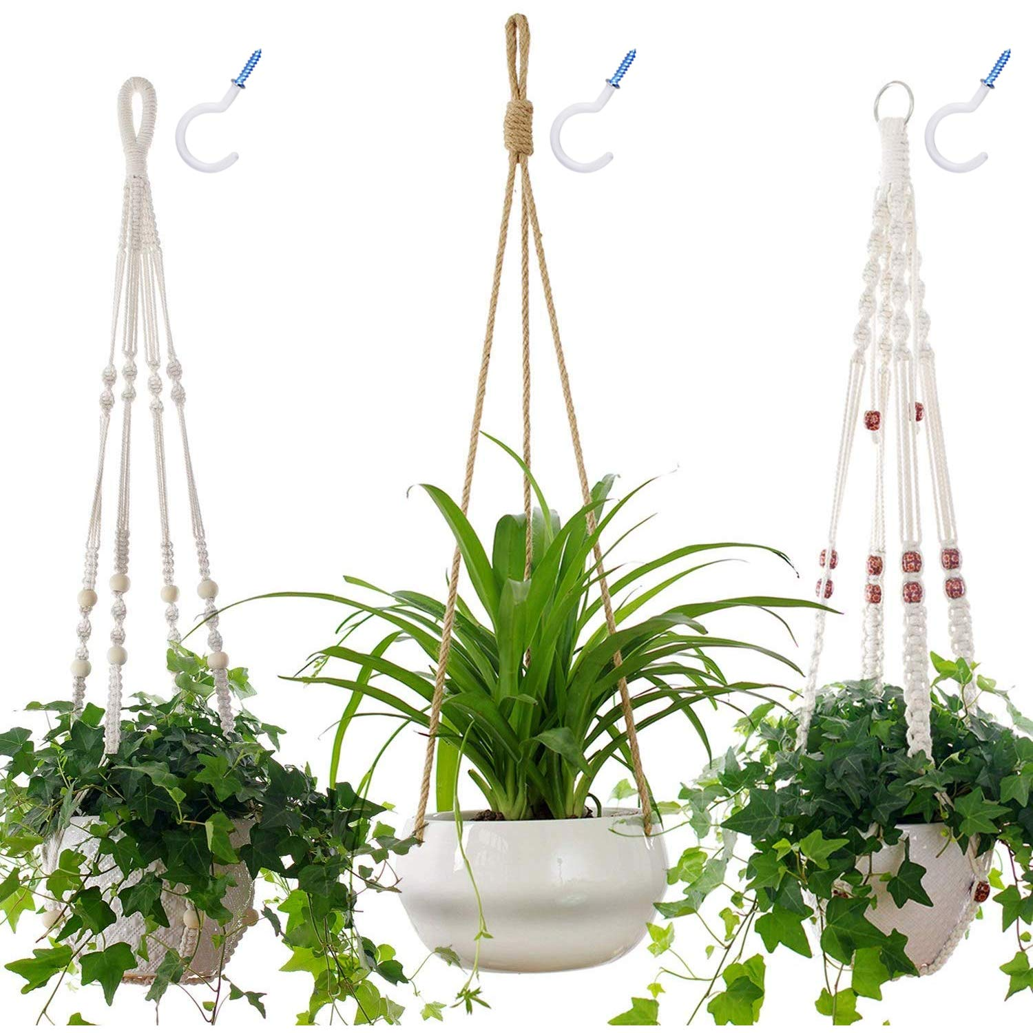 8 Inches Large Hanging Ceramic Planter Pot with 2-Piece Macrame Plant Hangers Pots not Included , Hanging Flower Pot for Indoor Outdoor House Plants, with 3 PCS Ceiling Hooks
