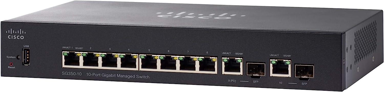 Cisco SG350-10 Managed Switch with 10 Gigabit Ethernet (GbE) Ports with 8 Gigabit Ethernet RJ45 Ports plus 2 Gigabit Ethernet Combo SFP, Limited Lifetime Protection (SG350-10-K9-NA)