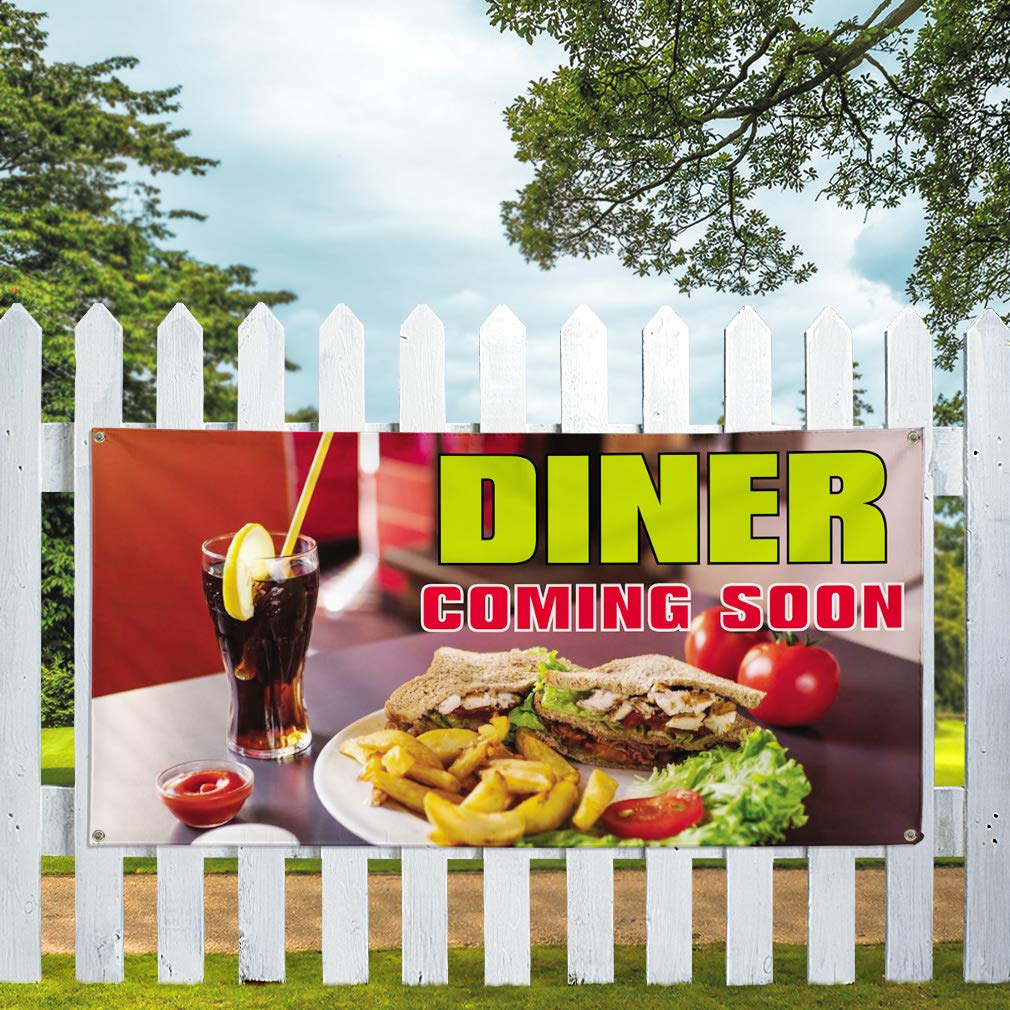Multiple Sizes Available Vinyl Banner Sign Dinner Coming Soon Business Dinner Marketing Advertising Red 8 Grommets One Banner 44inx110in