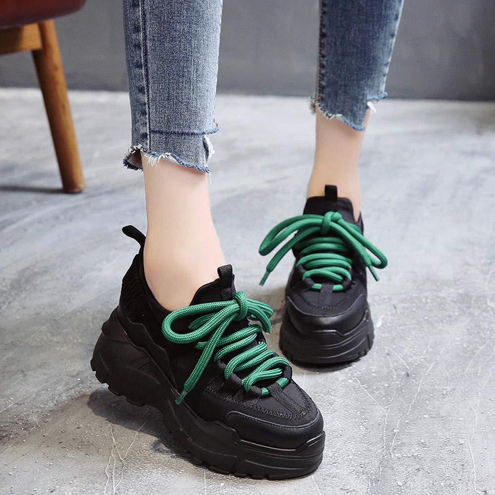 ❤ Zapatillas de Deporte de Las Mujeres Parte Inferior Gruesa, Plataforma de Las Mujeres Deporte Aumento Zapatos Altos Zapatos Redondos con Cordones ...