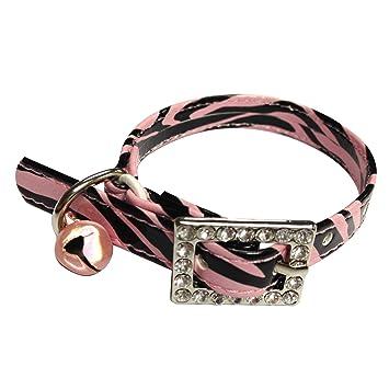 Collar para gatos cebra negro y rosa hebilla brillantes piel sintética: Amazon.es: Productos para mascotas