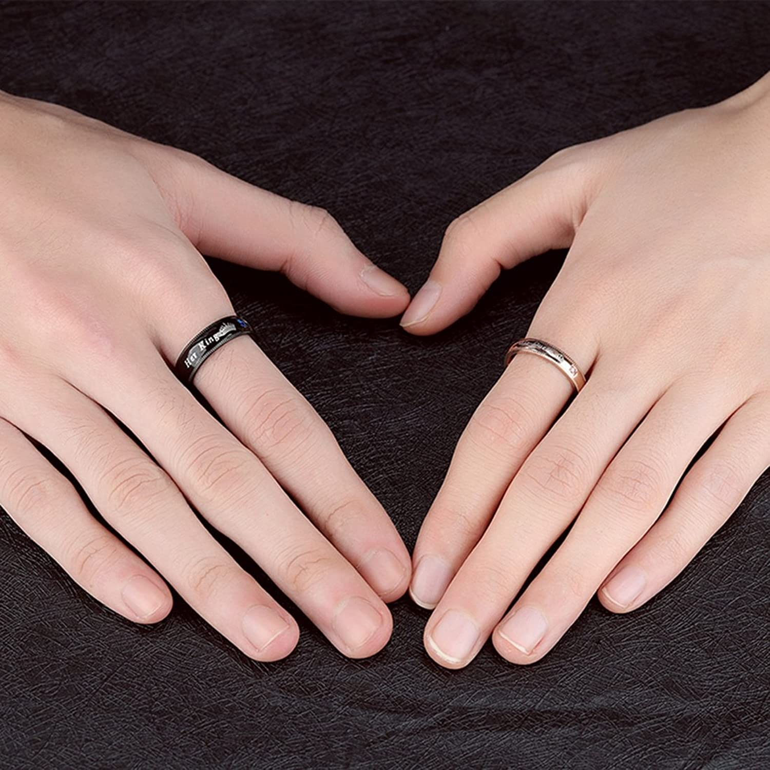 Amazon.com: OBSEDE His Queen Her King Ring Stainless Steel Rings for ...