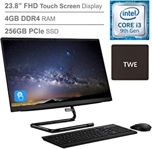 "Lenovo IdeaCentre A340 23.8"" FHD Touchscreen All-in-One AIO Desktop Computer, Intel Quad-Core i3-9100T (Beats i5-7400t), 4GB DDR4, 256GB PCIe SSD, DVD-RW, Windows 10, TWE Mouse Pad"