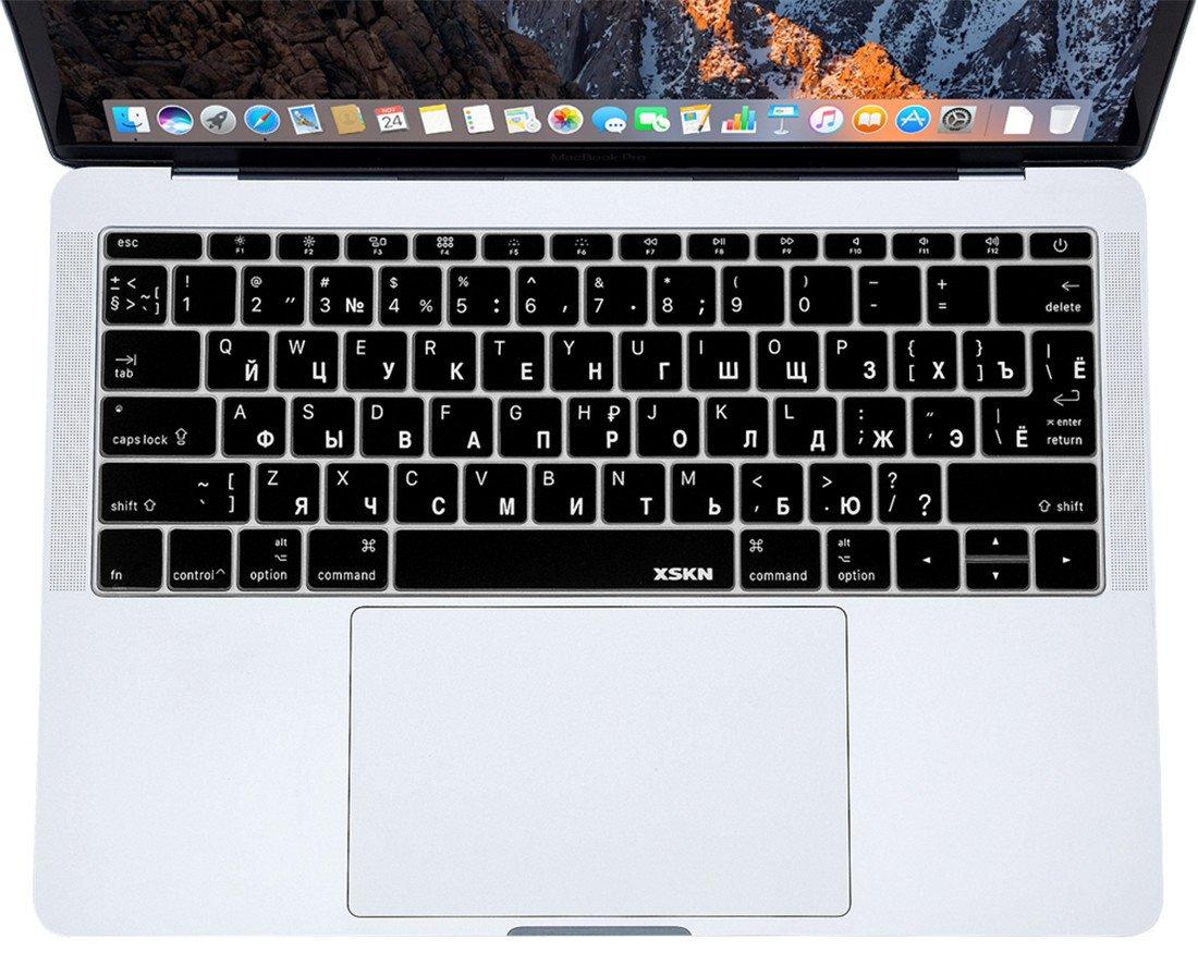 XSKN russe/anglais clavier Housse de protection pour MacBook Pro 33 cm Retina touches plates A1708 (2016, la barre sans contact) et MacBook 12 amé ricains et europé ens/ISO disposition de clavier en silicone film de protecti