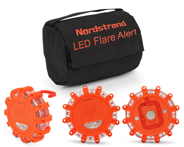 Set of 3 Nordstrand LED Flares Emergency Roadside 9.1.1 Lights Flashing Road Beacon - with Magnetic Base for Car or Marine - Storage Bag - Rainproof Amber