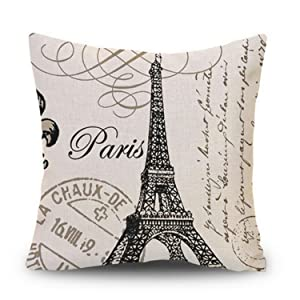 Decor MI Black and Beige Love Paris Pattern Cotton Square Throw Pillow Case Decorative Durable Cushion Slipcover Home Decor Standard Size Pillowcase Slip Cover 18x18 Inch