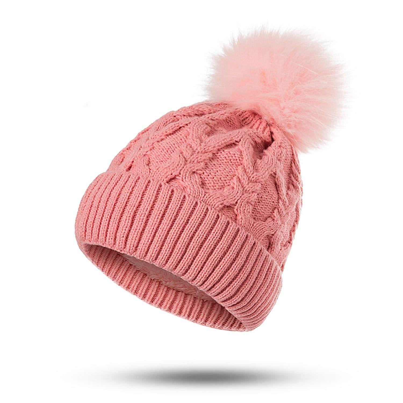 Winter Pompom Hat for Women Knit Beanie Winter Women Hats Fur Pom Hats Female Casual Winter Head Wear,Pink