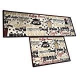 Easychan 2 Piece Kitchen Rugs Rubber Backing