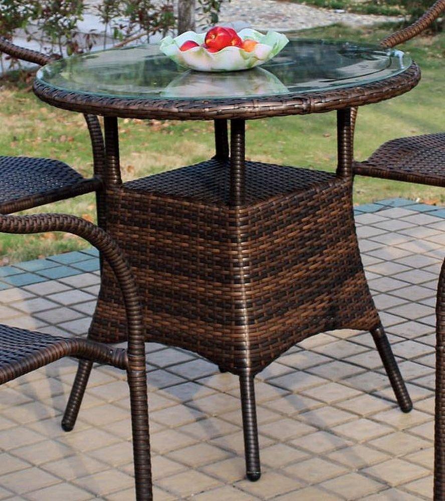 ジャービス商事 人工ラタンファニチャー ガーデンテーブル ラウンドガラステーブル NH-31201 38723 テーブルのみ B01IK56KM8