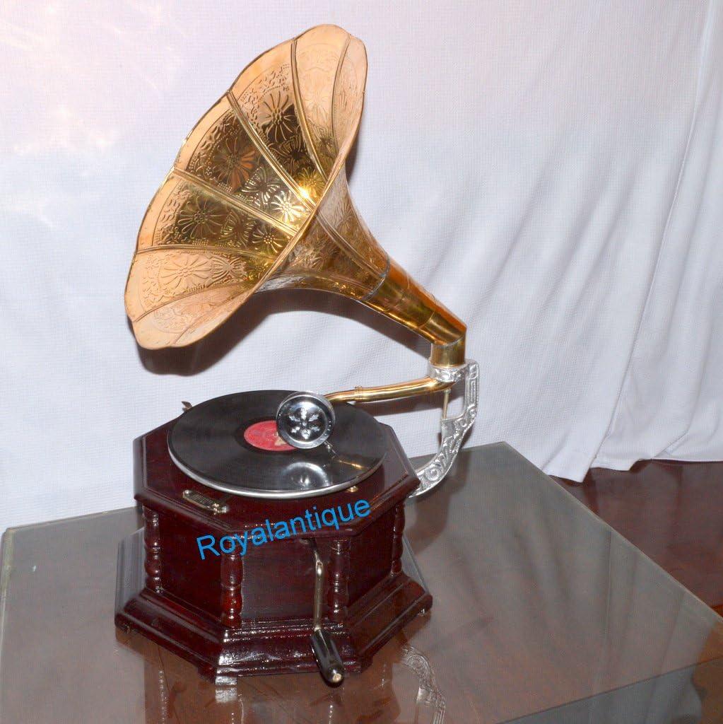 Vintage gramófono HMV fonógrafo latón cuerno Vintage Look trabajo ...