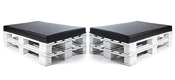 SUENOSZZZ-ESPECIALISTAS DEL DESCANSO Colchonetas para Sofas de Palet (2 x Unidades) Cojin Relleno con Espuma. Color Negro | Cojines para Chill out, ...