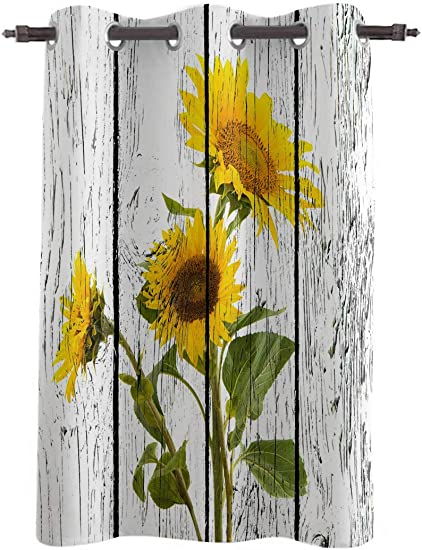 WARM TOUR Window Curtain Panel Rustic Sunflower Floral Vintage Wood Grain Printing Decor Durable Drapes for Bedroom Kitchen Living Room Yellow White