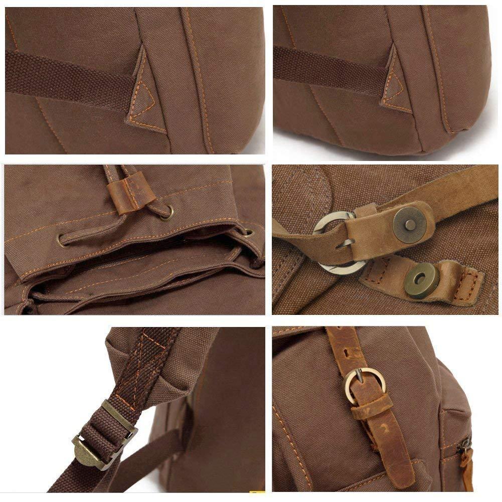 Augur Series Canvas Backpack P.KU.VDSL Vintage Backpack Canvas Rucksack Casual Daypacks Leather Laptop Backpack for Men Women