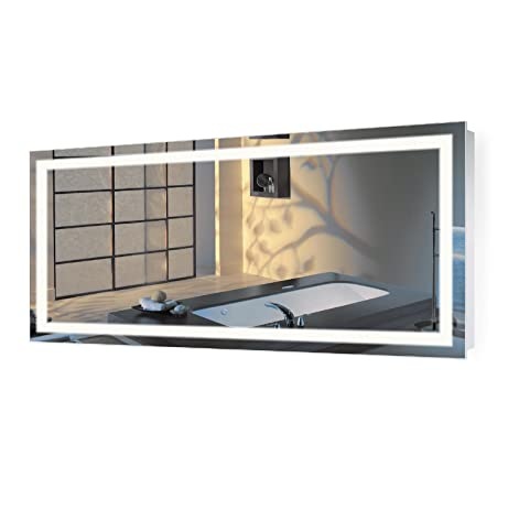 large 60 inch x 30 inch led bathroom mirror lighted vanity mirror includes dimmer