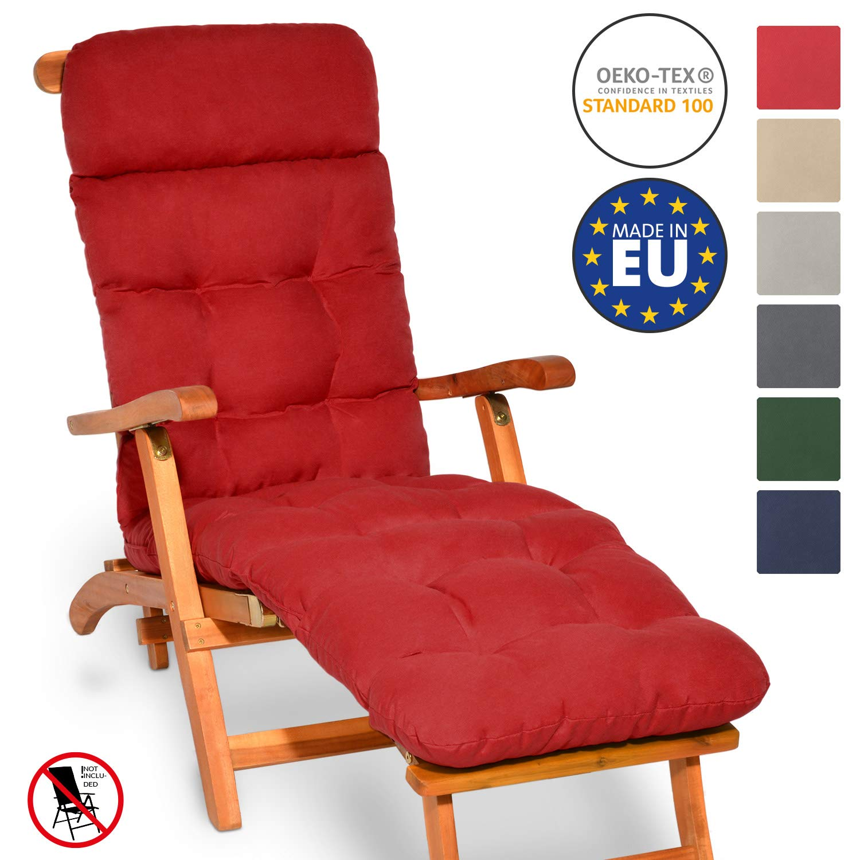 Beautissu Flair DC Cojín- colchoneta para Tumbona reclinable 200x50x8 cm con Relleno de gomaespuma - Rojo