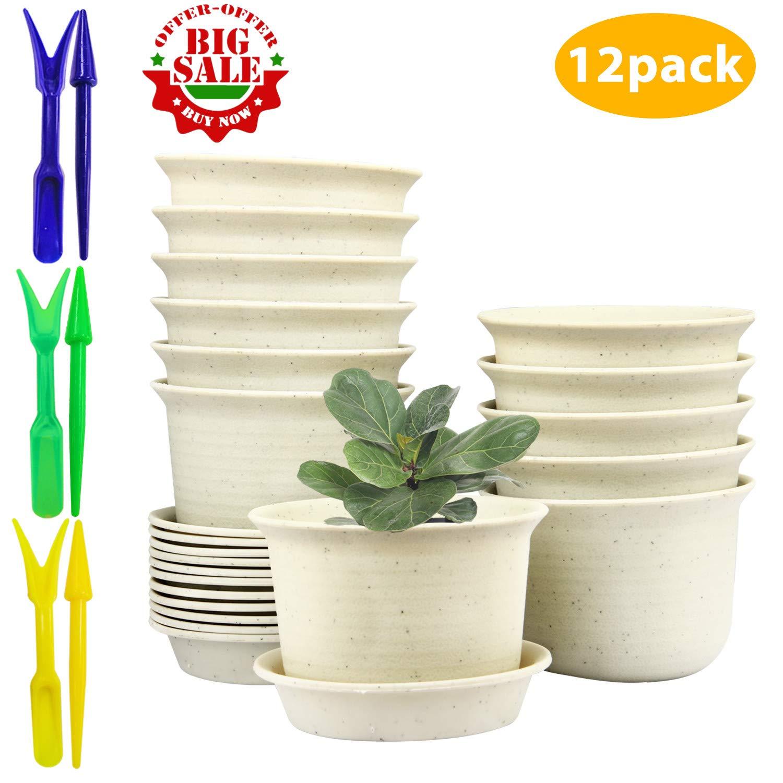 Flower Pots,Pots with Drainage Hole,Plastic Flower Pots with Pallet 3.5inch