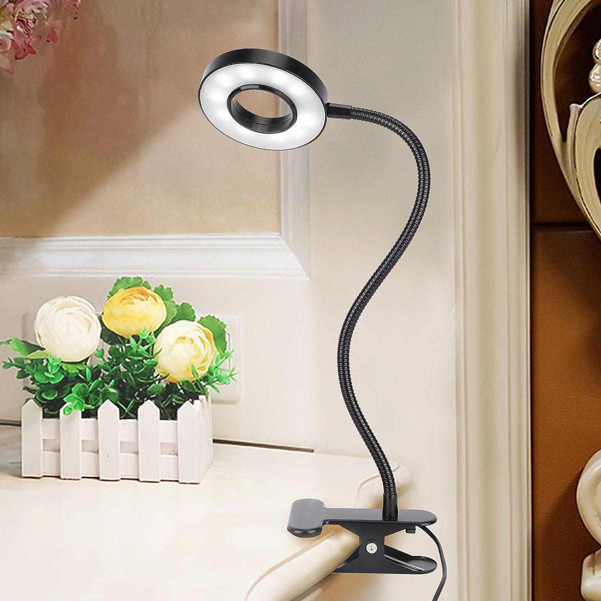 Kernorv Clip on Light/Reading Lights, 5W LED USB Dimmable 5 Color Modes Clip on Light Adjustable Brightness Portable Bed Reading Light Clip Lights for Bed Desk Headboard by Kernorv (Image #7)