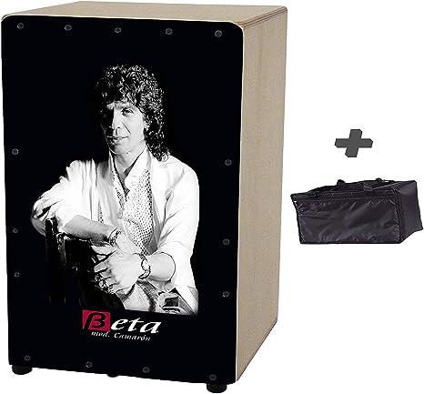 Cajón flamenco Beta (by Martinez) mod Camarón + FUNDA - Caja rumbera personalizada AFINABLE: Amazon.es: Instrumentos musicales