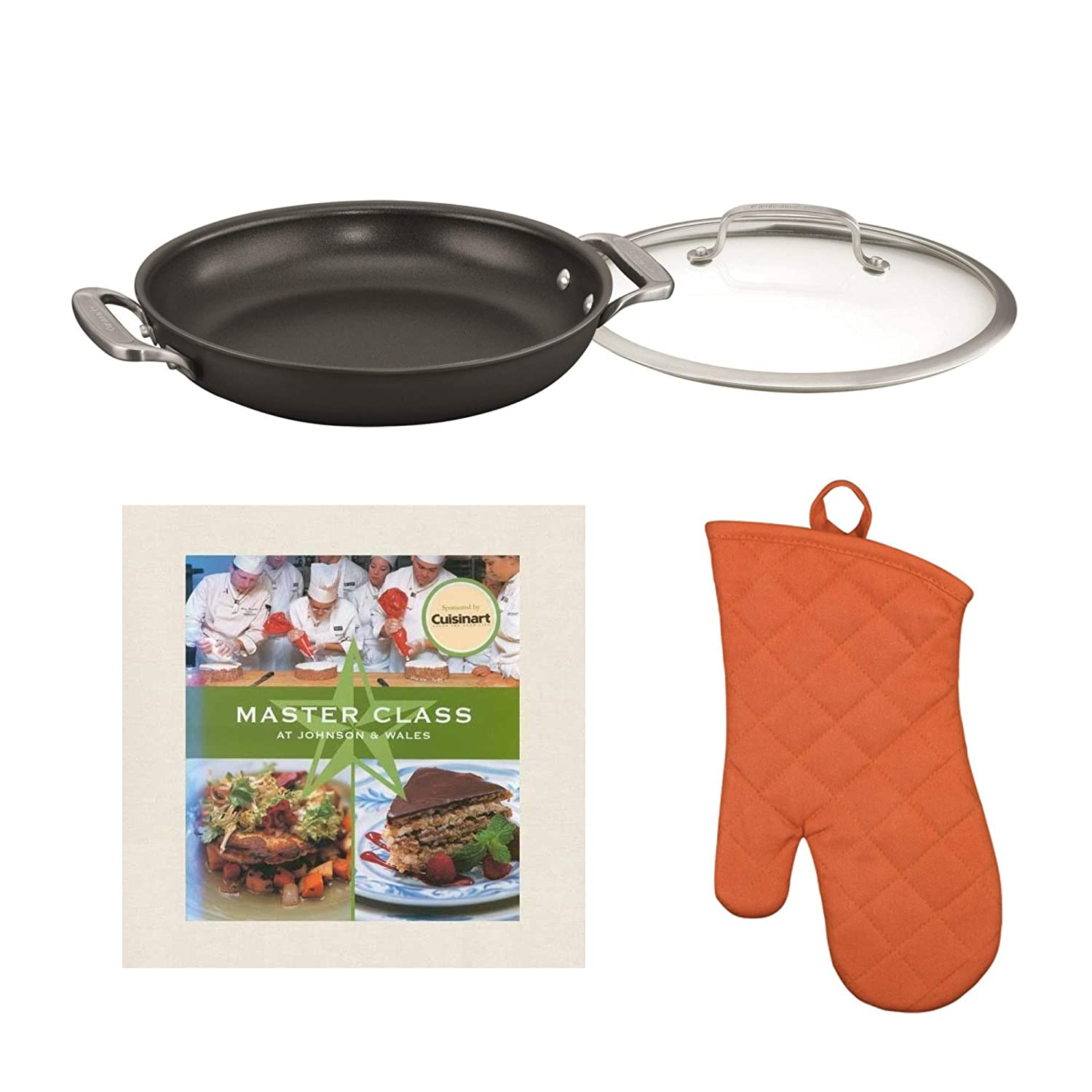 Cuisinart DS Induction Ready Hard Anodized 5-Quart Dutch Oven & Cover with Oven Mitt & Master Class Cookbook (3 Items)