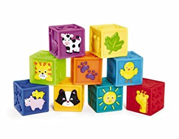 Amazon Com Earlyears Squeak N Stack Blocks Baby Toy Toys Games