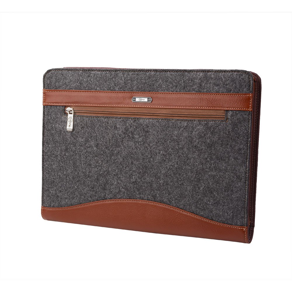 Wool Felt Leather Organizer Portfolio for 13.5 inch Surface Book and Your Cellphone,Brown by XIAOZHI (Image #3)
