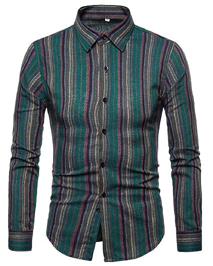 Xswsy XG Mens Long Sleeve Fashion Slim Fit Shirt Plaid Button Down Dress Shirts