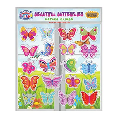 Beautiful Butterflies Thick Gel Clings – Reusable Glass Window Clings for Kids, Toddlers and Adults - Removable Incredible Gel Decals of Butterflies and Flowers Home, Airplane, Classroom, Nursery: Toys & Games