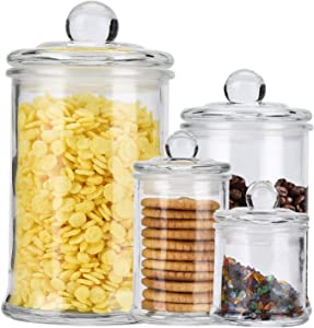 ERYTLLY Glass Food Storage Airtight Jars USDA Approved BPA Free High Borosilicate Glass Cookies Jar Glass Canister Lid Free Dishwasher Safe Canning Jar for Kitchen, Set of 4