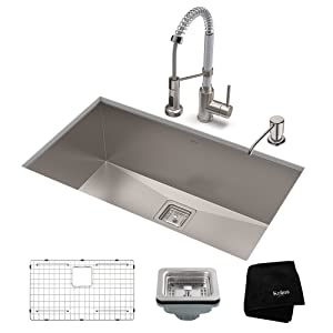 KRAUS KHU32-1610-53SSCH Set with Pax Sink and Bolden Commercial Pull Faucet in Stainless Steel Chrome Kitchen Sink & Faucet Combo 32 Inch Stainess