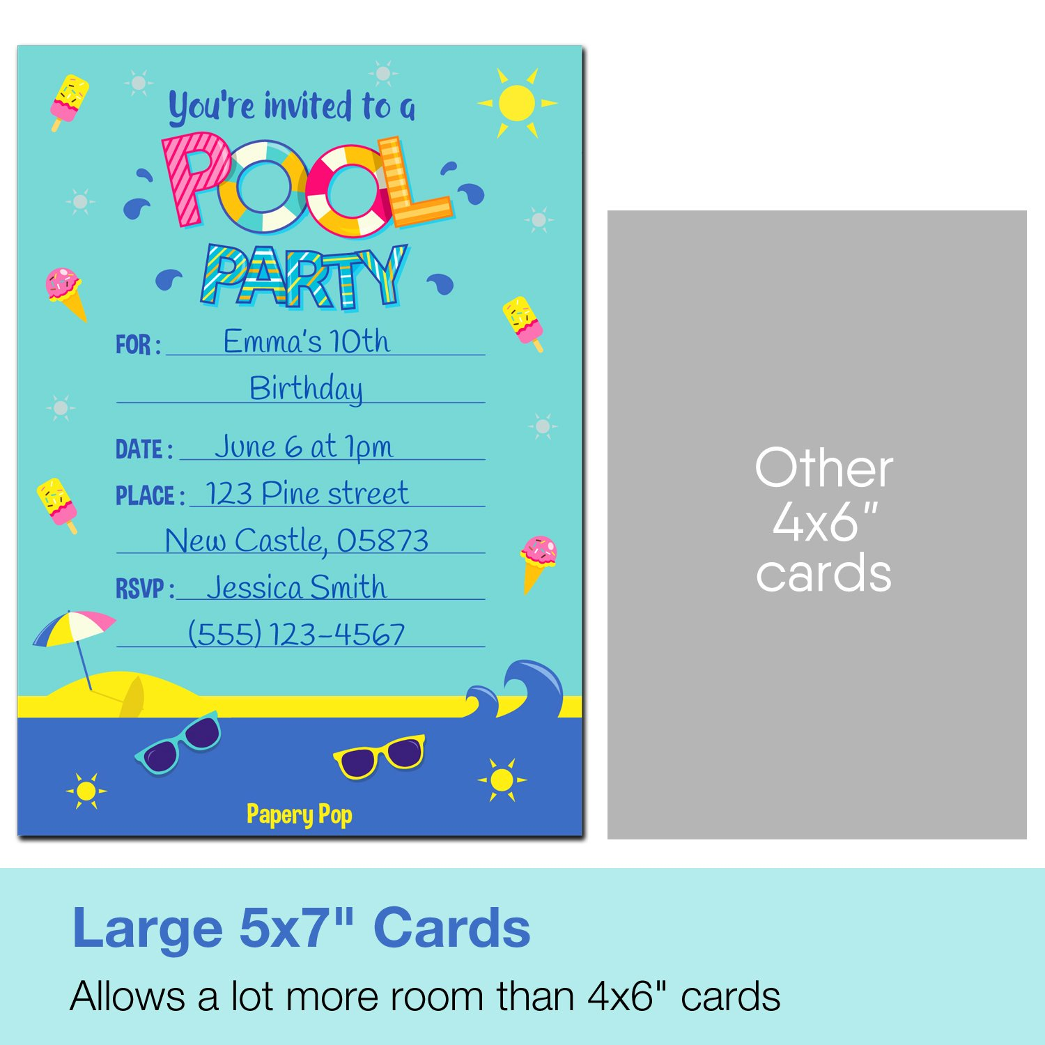 Amazon.com: 30 Pool Party Invitations with Envelopes - Kids Birthday ...