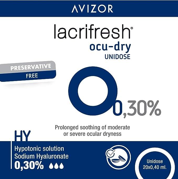 Avizor Lacrifresh Ocu-Dry 0.30%. Monodosis gotas oculares. 20 ampollas 0,4 ml de gotas oculares para aliviar los síntomas de la irritación ocular.