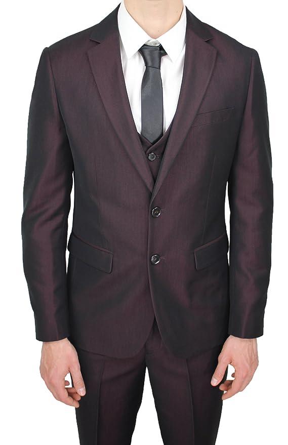 7e9535267012 Abito Completo Uomo Sartoriale Bordeaux Elegante con Gilet in Coordinato   Amazon.it  Abbigliamento