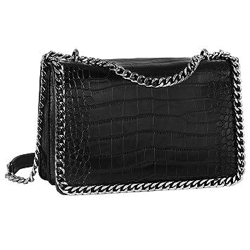 CRAZYCHIC - Bolso Bandolera Cadena Mujer - Bolso Acolchado Piel Cocodrilo Cuero PU - Gran Bolso Mano de Hombro - Clutch Bag Messenger Crossbody Bag ...