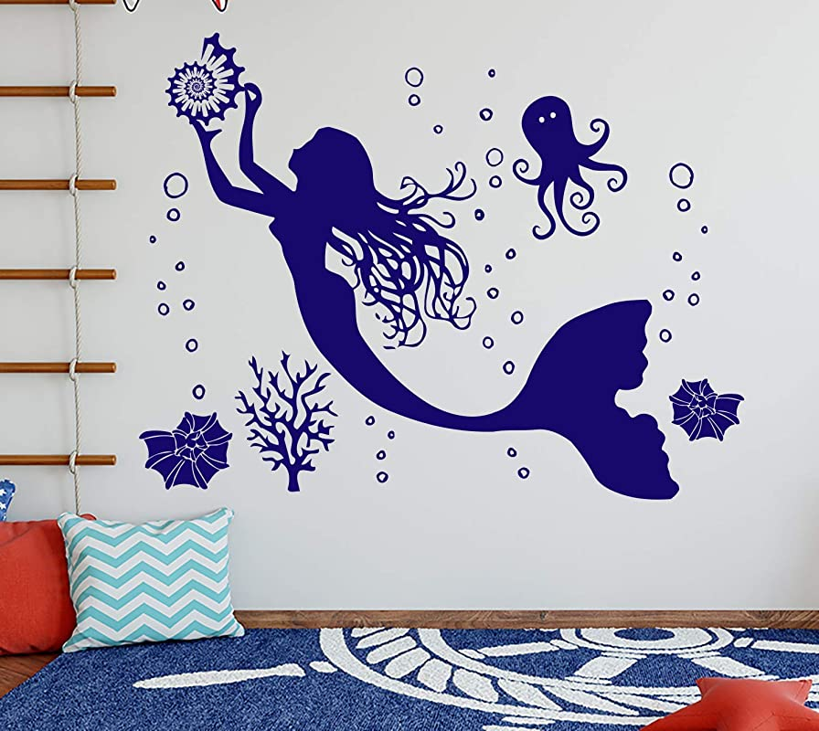 Mermaid Wall Decal Vinyl Sticker Decals Nymph Girl Tail Sea Animal Sea Ocean Bathroom Home Decor Bedroom Dorm Girls Nursery Kids Art ZX151