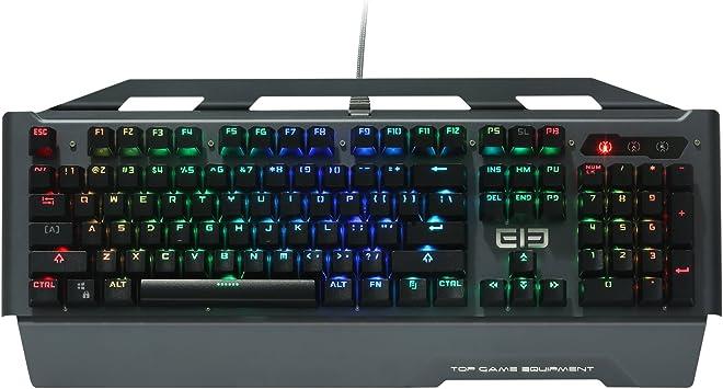 Teclado mecánico, Ele eleenter Game2 RGB 104 teclas retroiluminado, teclados para juegos, aleación de aluminio + plástico resistente al agua Vídeo ...