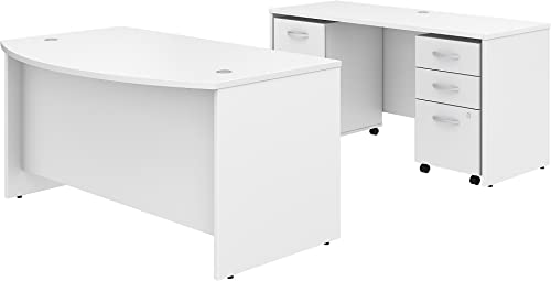 Studio C 60W x 36D Bow Front Desk and Credenza