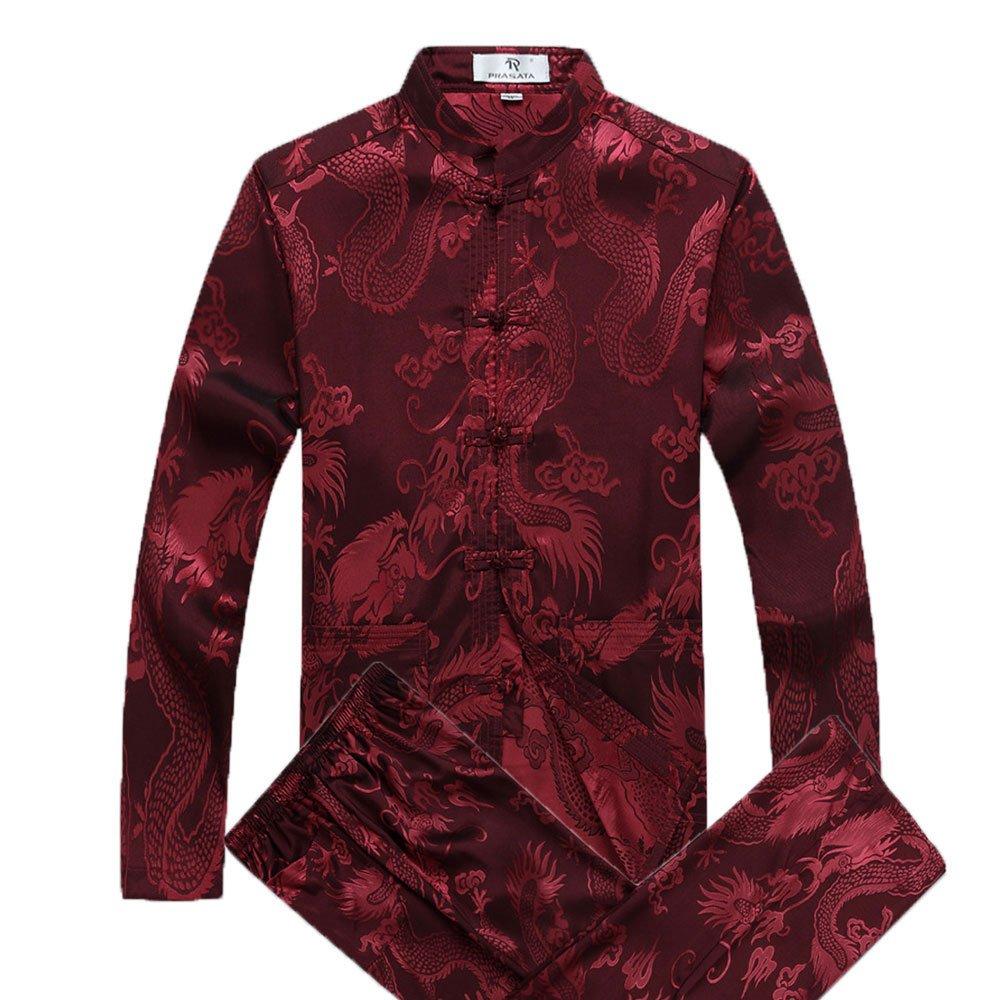 Airuiby Costume Tang Hommes Vêtements traditionnels chinois Hanfu Coton Chemise à manches longues manteau Tops et pantalons