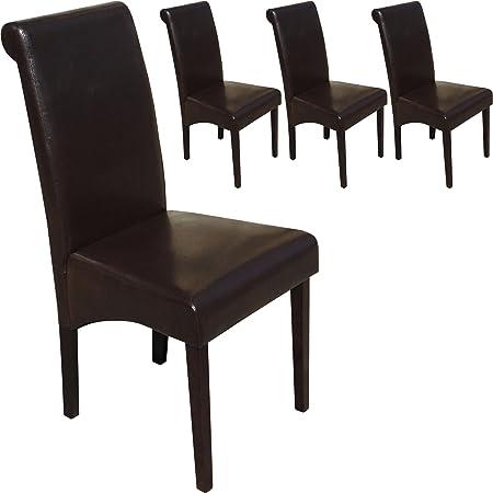Set di 4 sedie sala da pranzo wengè Darkwood Roma in pelle