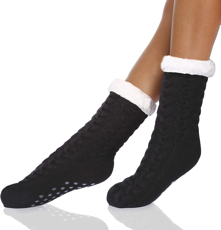 Winter Long Thicken Fleece Lined Socks Women Soft Warm Cozy Fuzzy Slipper Socks